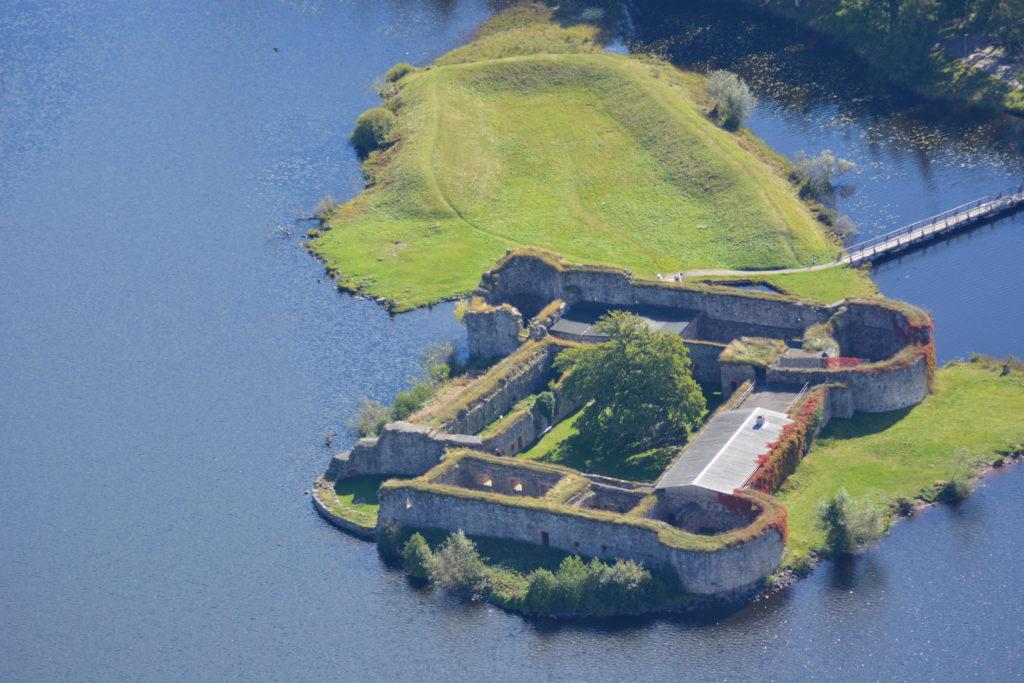 Flygfoto över Kronobergs slottsruin