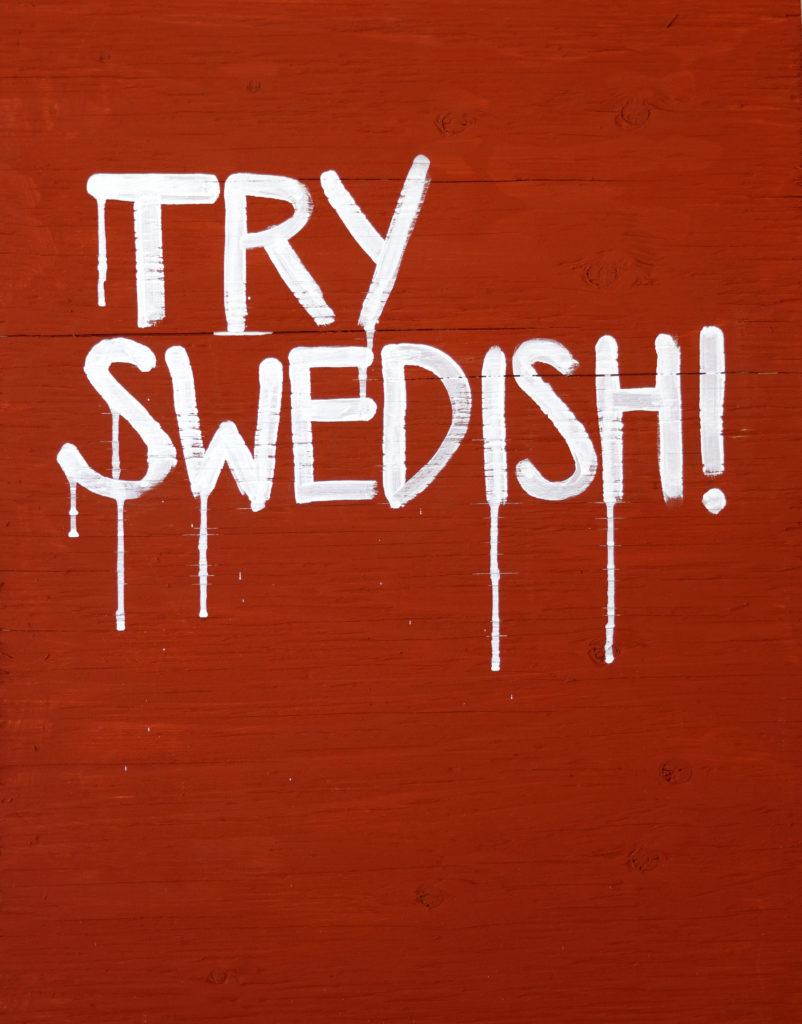 Bild för affisch till utställningen Try Swedish!